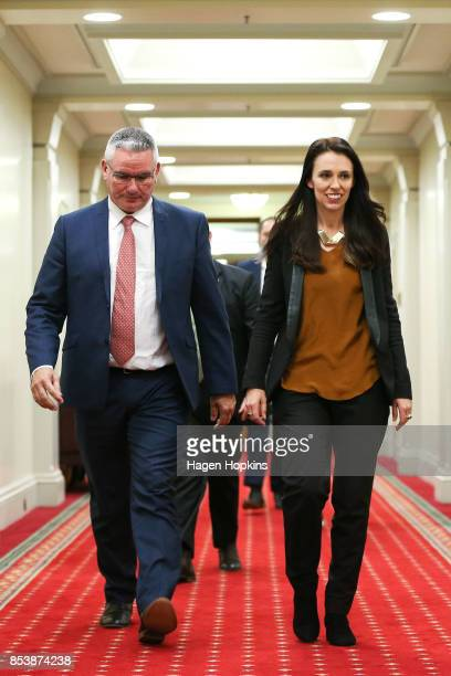 Labour leader Jacinda Ardern and deputy leader Kelvin Davis arrive during a press conference at Parliament on September 26 2017 in Wellington New...