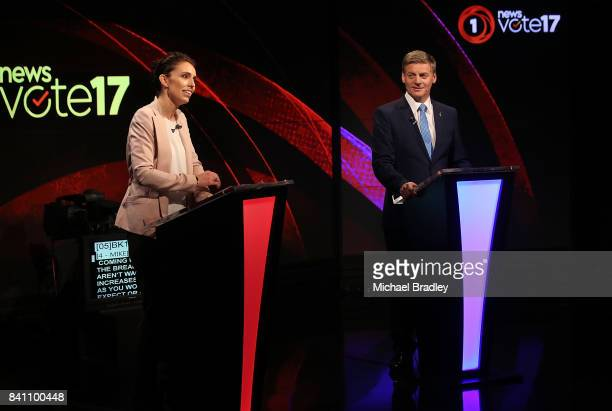 Labour leader Jacinda Ardern and Prime Minsiter and Leader of the National Party Bil English speak during the Vote 2017 1st Leaders Debate on August...