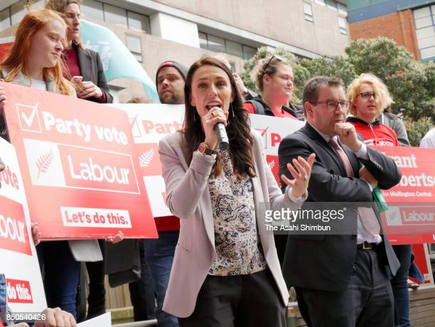 Labour Leader Jacinda Ardern calls for support at Victoria University on September 19 2017 in Wellington New Zealand Voters cast their ballots on...