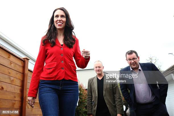 Labour Leader Jacinda Ardern Labour Party MP Grant Robertson and deputy leader Kelvin Davis arrive to talk to the media during a bbq at her house on...