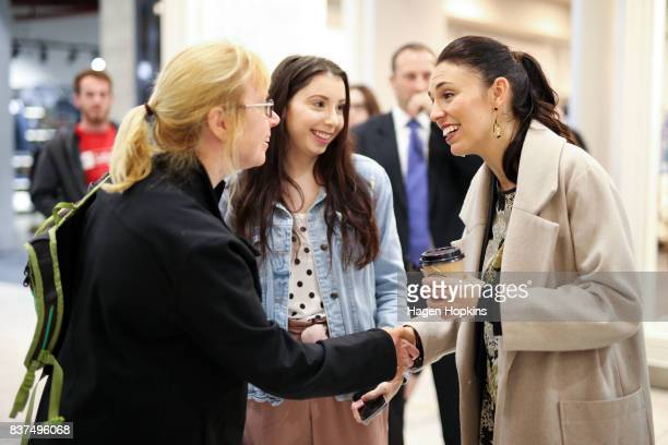 Labour leader Jacinda Ardern meets a supporter during a visit to The Plaza Shopping Centre on August 23 2017 in Palmerston North New Zealand Ardern...
