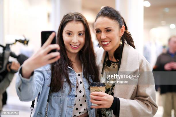 Labour leader Jacinda Ardern poses for a photo during a visit to The Plaza Shopping Centre on August 23, 2017 in Palmerston North, New Zealand....