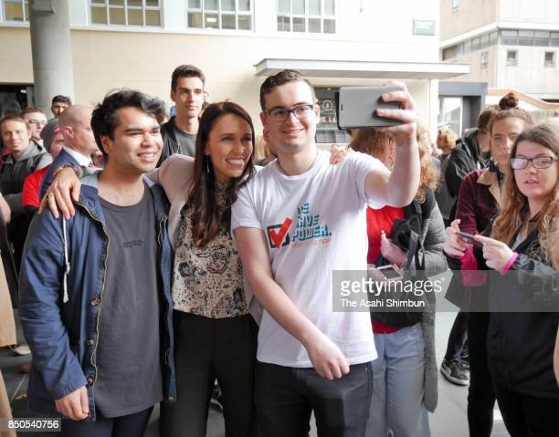 Labour Leader Jacinda Ardern poses for photographs with students after addressing at Victoria University on September 19 2017 in Wellington New...