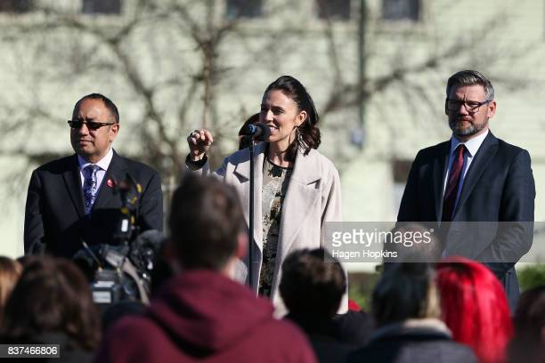 Labour leader Jacinda Ardern speaks while from left MP for Te Tai Hauauru Adrian Rurawhe candidate for Rangitikei Heather Warren and MP for...