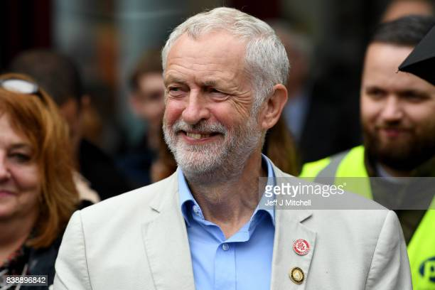 Labour leader Jeremy Corby addresses a public rally at the Quadrant shopping centre on August 25 2017 in Coatbridge Scotland Mr Corbyn is on a five...