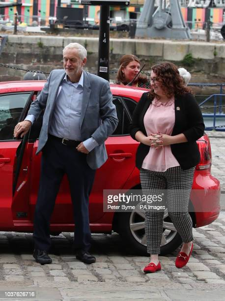 Labour leader Jeremy Corbyn accompanied by Danielle Rowley MP outside the International Slavery Museum at the Royal Albert Dock Liverpool as he...