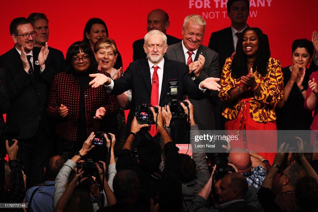Jeremy Corbyn Addresses The 2019 Labour Party Conference : News Photo