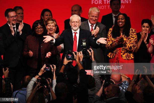 Labour leader Jeremy Corbyn acknowledges conference following his keynote speech on September 24 2019 in Brighton England After the Supreme Court...
