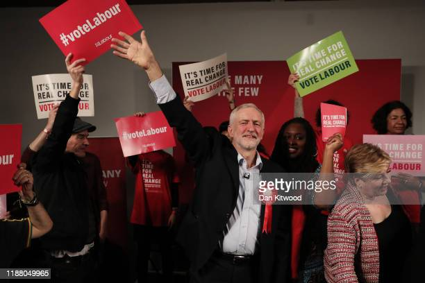 Labour leader Jeremy Corbyn acknowledges supporters following his address in Hoxton on December 11 2019 in London United Kingdom Corbyn is speaking...