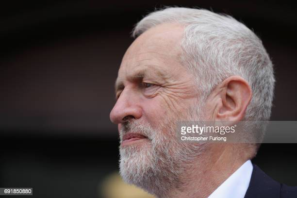 Labour leader Jeremy Corbyn addresses a rally of supporters at Hucknall Market Place as he visits the East Midlands during the final weekend of the...