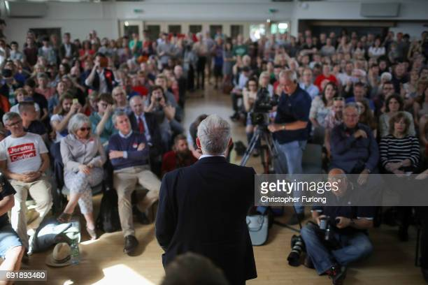 Labour leader Jeremy Corbyn addresses a rally of supporters at Beeston Youth and Community Centre he visits the East Midlands during the final...