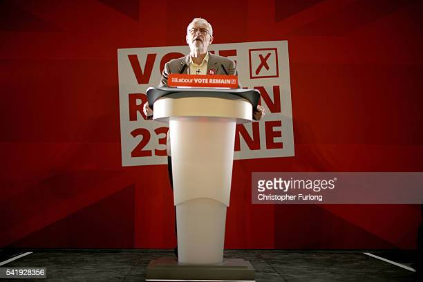 Labour Leader Jeremy Corbyn addresses an audience at the People's History Museum and sets out the reasons why Labour is voting remain in the...