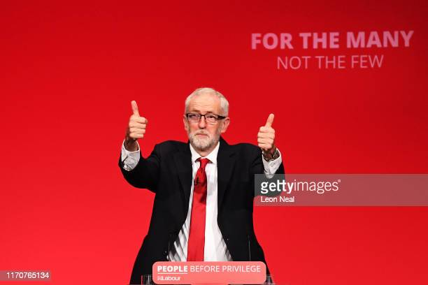 Labour leader Jeremy Corbyn addresses conference in his keynote speech on September 24, 2019 in Brighton, England. After the Supreme Court ruled the...