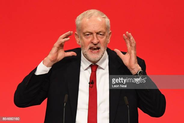 Labour Leader Jeremy Corbyn addresses delegates on the final day of the Labour Party conference on September 26 2017 in Brighton England Mr Corbyn is...
