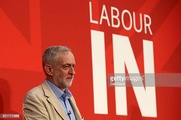 Labour leader Jeremy Corbyn addresses supporters and members of the media as he states Labour's case for staying in the European Union on April 14...