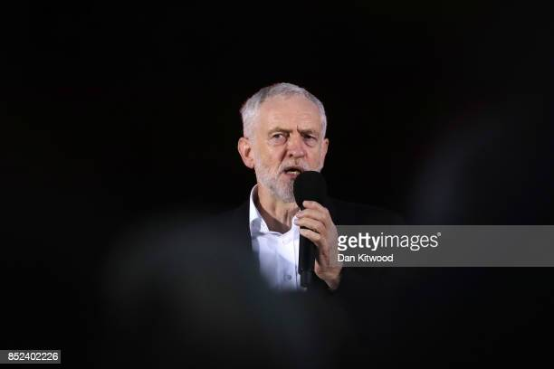 Labour Leader Jeremy Corbyn addresses supporters during a Momentum Rally on the eve of the Labour Party Conference on September 23 2017 in Brighton...
