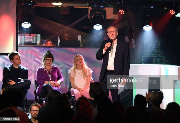 Labour Leader Jeremy Corbyn addresses supporters during a momentum rally on the first day of the Labour Party conference on September 24 2017 in...