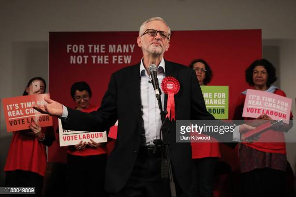 Labour leader Jeremy Corbyn addresses supporters in Hoxton on December 11, 2019 in London, United Kingdom. Corbyn is speaking to Labour activists...
