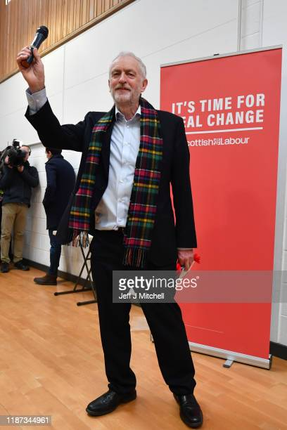 Labour Leader Jeremy Corbyn addresses the audience as he visits the Heart of Scotstoun Community Centre on November 13 2019 in Glasgow Scotland...