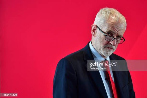 Labour leader Jeremy Corbyn addresses the audience at the University of Lancaster on November 15 2019 in Lancaster England The Labour leader has...