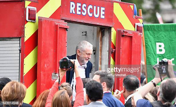 Labour leader Jeremy Corbyn after delivering a speech during Momentum's 'Keep Corbyn' rally outside the Houses of Parliament on June 27 2016 in...