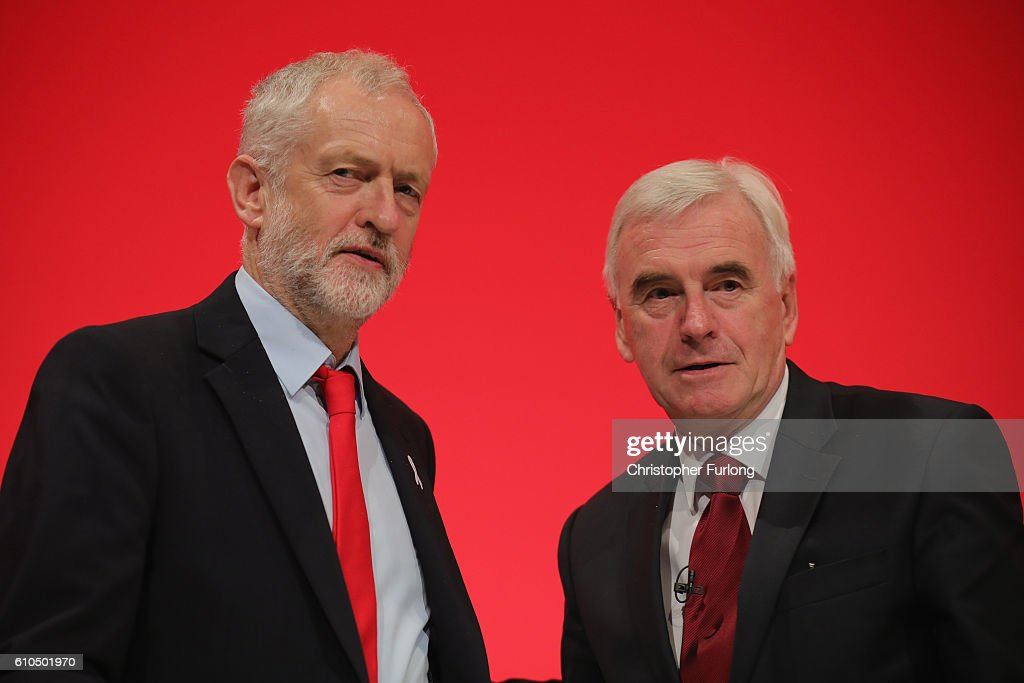 Labour Leader Jeremy Corbyn after Shadow Chancellor John McDonnell delivered his keynote speech to the Labour Party Conference on September 26, 2016 in Liverpool, England. During his keynote speech the Labour Shadow Chancellor John McDonnell stated that if in power a Labour government would create a 'manufacturing renaissance'. Labour would also support traditional manufacturing and industry with government 'intervention' if needed. The shadow chancellor also rejected claims that the party is anti-enterprise.