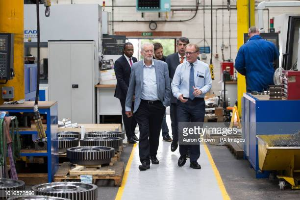 Labour leader Jeremy Corbyn and Andrew Jubb DePe Gear managing director of during his visit to DePe Gear CO LTD StokeonTrent Corbyn came under attack...