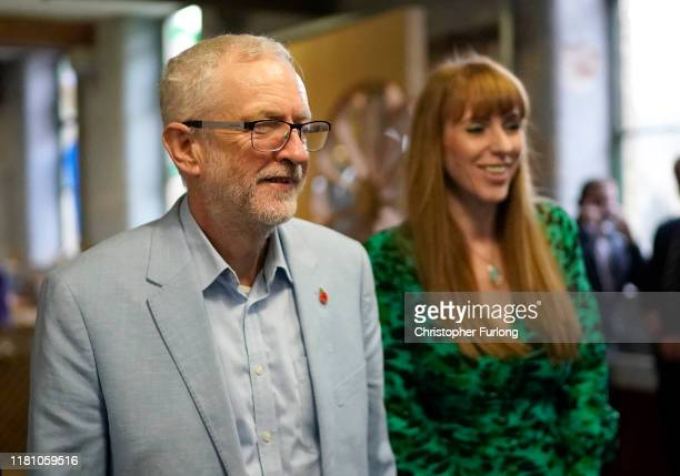 Labour leader Jeremy Corbyn and Angela Rayner Shadow Education Secretary visit the Scrap Creative Reuse Arts Project Sunny Bank Mills The Spinning...