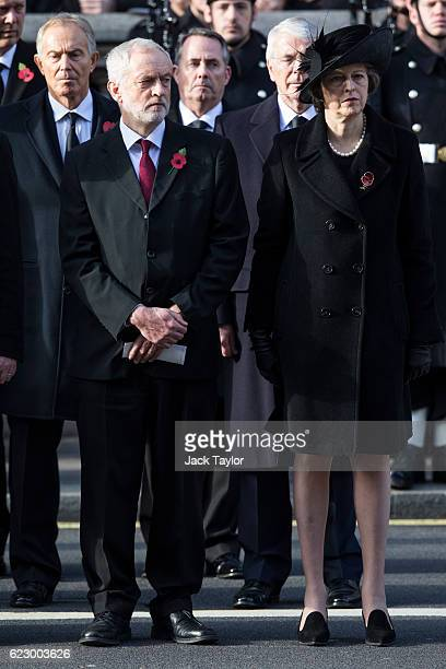 Labour Leader Jeremy Corbyn and British Prime Minister Theresa May attend the annual Remembrance Sunday Service at the Cenotaph on Whitehall on...