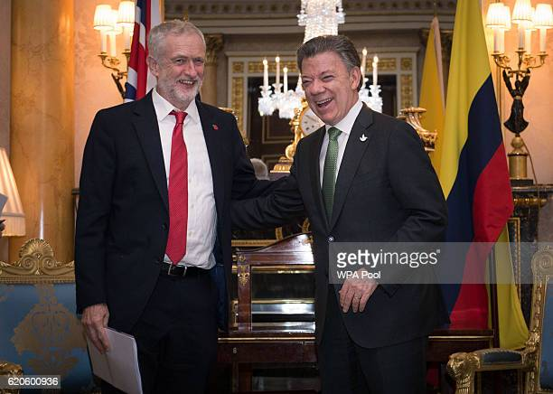 Labour Leader Jeremy Corbyn and Colombian President Juan Manuel Santos meet at Buckingham Palace on November 2 2016