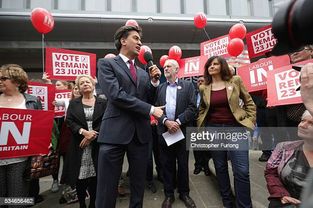 Labour Leader Jeremy Corbyn and former leader Ed Miliband address supporters and members of the public in Doncaster town centre on May 27 2016 in...