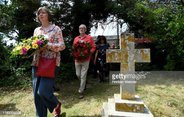 Labour leader Jeremy Corbyn and Frances O'Grady, general secretary of the Trades Union Congress , lay a wreath during the Tolpuddle Martyrs Festival...