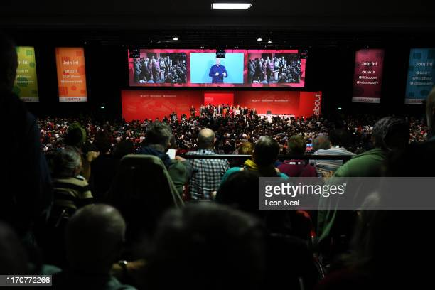 Labour leader Jeremy Corbyn and his shadow cabinet along with delegates sing the Red Flag and Jerusalem following his keynote speech to conference on...
