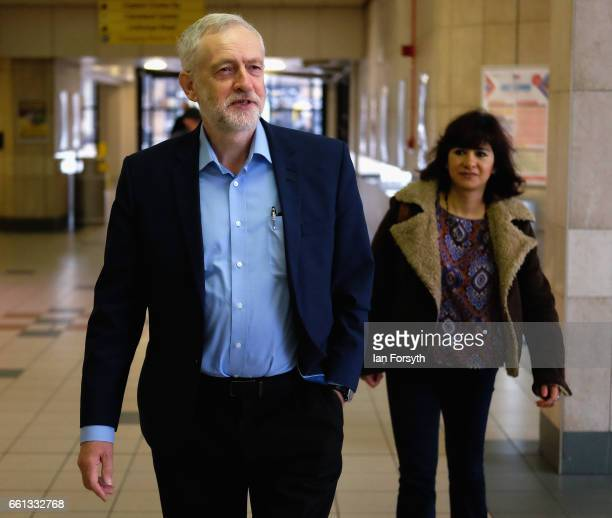 Labour leader Jeremy Corbyn and his wife Laura Alvarex arrive at Middlesbrough bus station to take the number 36 bus from Middlesbrough to Stockton...