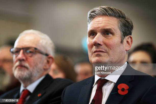 Labour leader Jeremy Corbyn and Keir Starmer Shadow Secretary of State for Exiting the EU look on prior to delivering a Brexit speech at the Harlow...