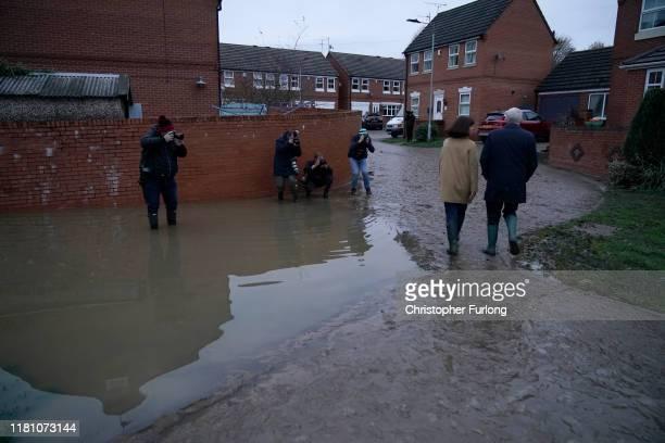 Labour leader Jeremy Corbyn and Labour MP Caroline Flint visit flood hit Conisbrough on November 8 2019 in Doncaster England Parts of northern...