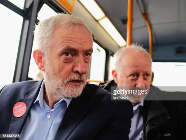 Labour leader Jeremy Corbyn and Labour MP for Middlesbrough Andy McDonald look out of the window as they take a ride on the number 36 bus from...