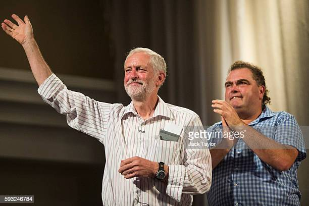 Labour Leader Jeremy Corbyn and Manuel Cortes General Secretary TSSA greet thousands of supporters during a rally at Ruach City Church in Kilburn on...
