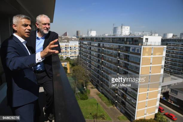 Labour leader Jeremy Corbyn and Mayor of London Sadiq Khan visit the Churchill Gardens Estate in Westminster on April 19, 2018 in London, England....