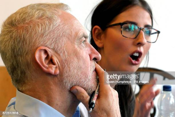 Labour leader Jeremy Corbyn and MP Laura Pidcock in Geraldine's Cafe in Consett County Durham