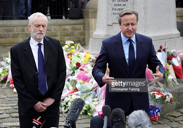 Labour Leader Jeremy Corbyn and Prime Minister David Cameron pay their respects near to the scene of the murder of Jo Cox Labour MP for Batley and...
