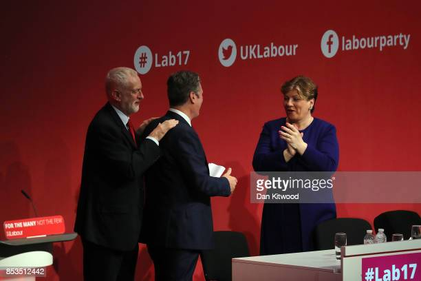 Labour Leader Jeremy Corbyn and Shadow First Secretary of State Emily Thornberry congratulate Shadow Secretary of State for Exiting the European...