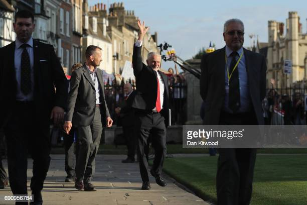 Labour Leader Jeremy Corbyn arrives ahead of the BBC Leader's Debate on May 31 2017 in Cambridge England Six Leaders of the Seven political parties...