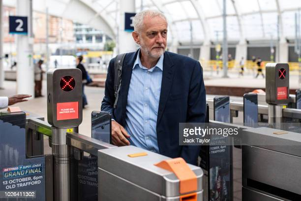Labour Leader Jeremy Corbyn arrives at Manchester Victoria Station from Liverpool as he tours the North of England by rail today on September 3 2018...