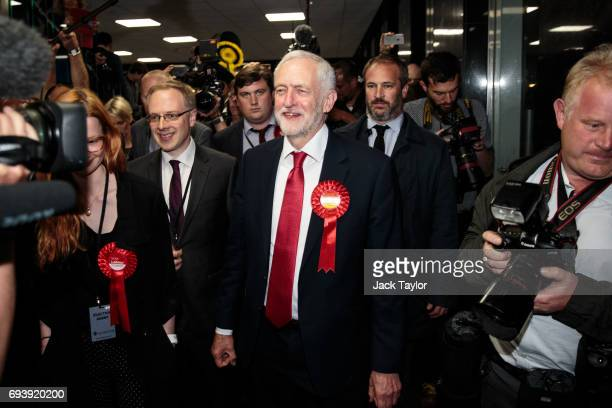 Labour Leader Jeremy Corbyn arrives at the Sobell Leisure Centre during the Islington North and the Islington South and Finsbury count on June 9 2017...
