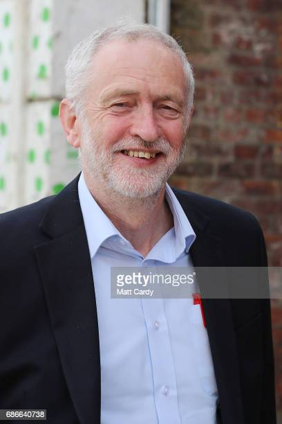 Labour leader Jeremy Corbyn arrives for a campaign rally to launch Labours Cultural Manifesto at Fruit on May 22 2017 in Hull England Britain goes to...