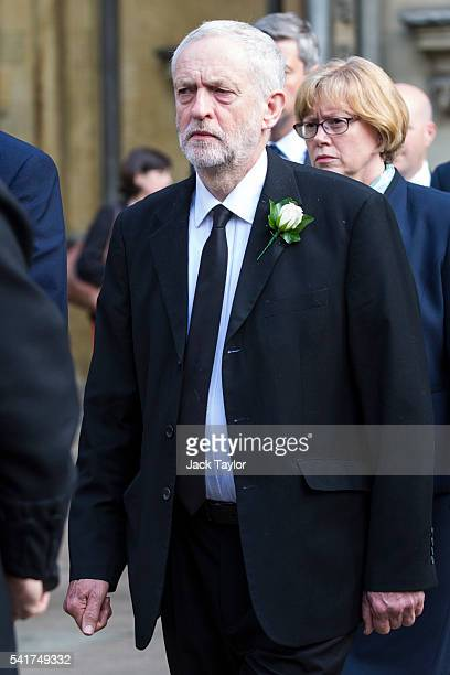 Labour Leader Jeremy Corbyn arrives for a remembrance service for Jo Cox at St Margaret's church on June 20 2016 in London England Parliament was...