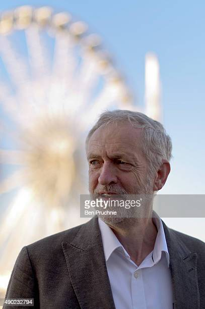 Labour Leader Jeremy Corbyn arrives for an appearance on the Andrew Marr show ahead of the Labour Party Autumn Conference on September 27 2015 in...