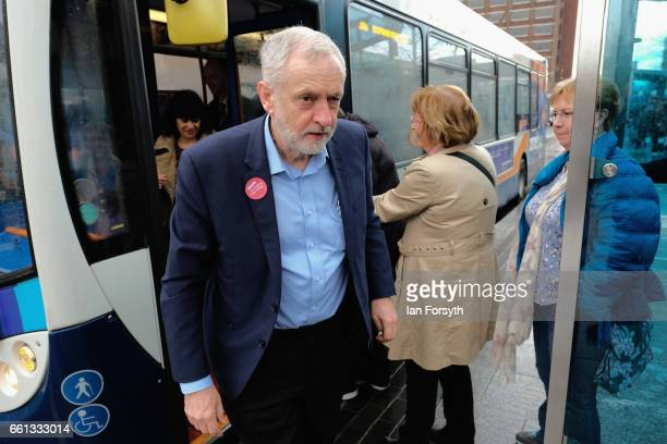 Labour leader Jeremy Corbyn arrives in Stockton on Tees on the number 36 bus after travelling from Middlesbrough on March 31 2017 in Middlesbrough...
