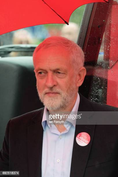 Labour Leader Jeremy Corbyn arrives on the campaign battle bus to speak to party supporters as he campaigns in Hemlington at the Detached Youth Work...